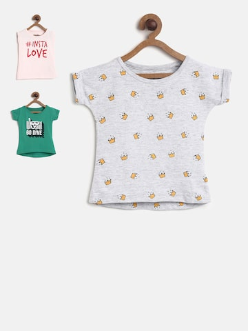 Palm Tree Girls Pack of 3 Printed Tops Palm Tree Tops at myntra