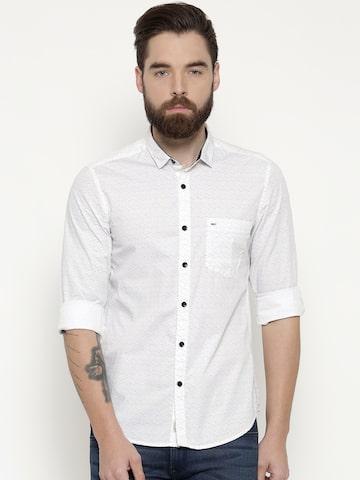 Indigo Nation Men White Slim Fit Printed Casual Shirt Indigo Nation Shirts at myntra