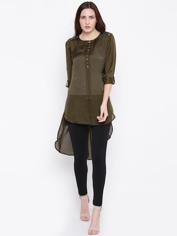 Jashn Women Olive Green Solid Sheer High-Low Straight Kurta Jashn Kurtas at myntra