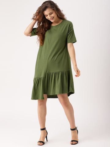 DressBerry Women Olive Green Solid A-Line Dress DressBerry Dresses at myntra