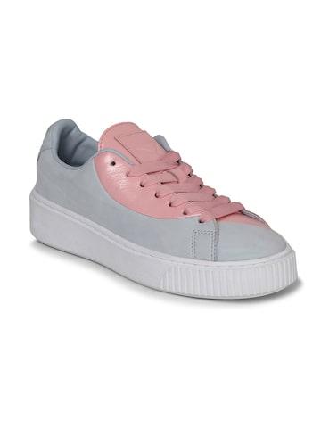 Puma Women Grey & Pink Basket Platform Val Casual Shoes Puma Casual Shoes at myntra