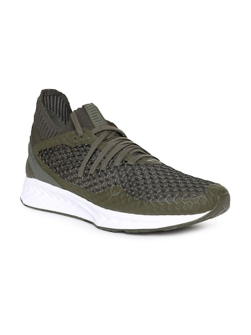 Puma Men Olive Green IGNITE NETFIT Running Shoes Puma Sports Shoes at myntra