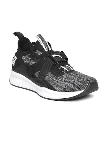 Puma Men Grey & Black Ignite evoKNIT Lo 2 Running Shoes Puma Sports Shoes at myntra