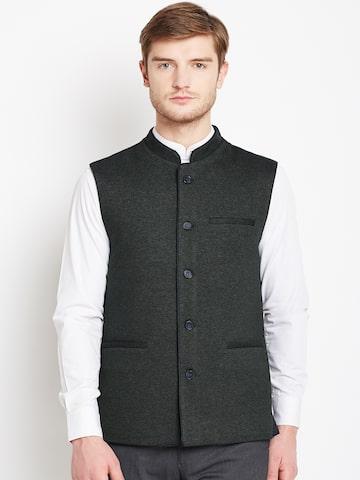 Arrow Charcoal Grey Smart Casual Nehru Jacket Arrow Waistcoat at myntra