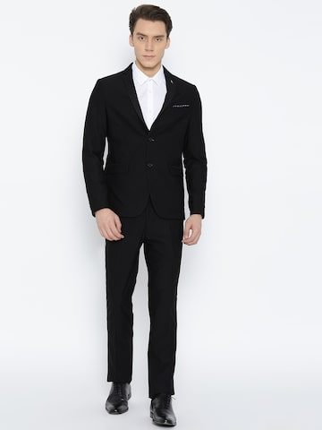 Arrow Black Zero Calorie Fit Single-Breasted Self-Design Partywear Suit Arrow Suits at myntra