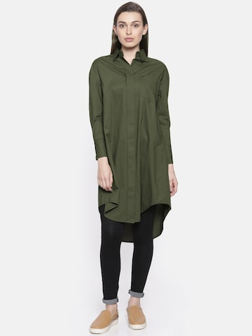 Vero Moda Women Olive Green Classic Regular Fit Solid Longline Casual Shirt Vero Moda Shirts at myntra