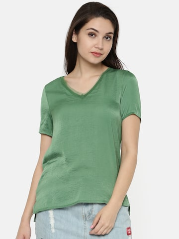 Vero Moda Women Green Solid V-Neck T-shirt Vero Moda Tshirts at myntra