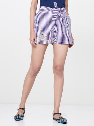 Global Desi Women Navy Blue Striped Regular Fit Regular Shorts Global Desi Shorts at myntra