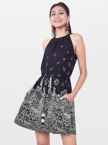 Global Desi Women Black Printed Playsuit Global Desi Jumpsuit at myntra