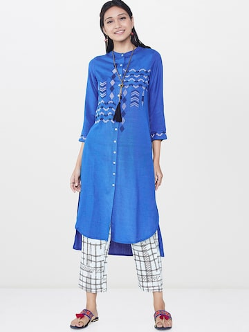 Global Desi Women Blue Yoke Design A-Line Kurta Global Desi Kurtas at myntra