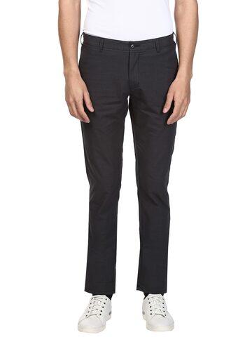 ColorPlus Men Black Regular Fit Solid Regular Trousers ColorPlus Trousers at myntra
