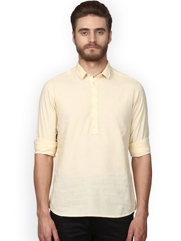 ColorPlus Men Yellow Regular Fit Solid Casual Shirt ColorPlus Shirts at myntra