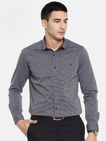 ColorPlus Men Navy Blue & White Contemporary Regular Fit Self Design Semi-Formal Shirt ColorPlus Shirts at myntra