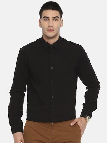 ColorPlus Men Black Contemporary Regular Fit Self Design Casual Shirt ColorPlus Shirts at myntra