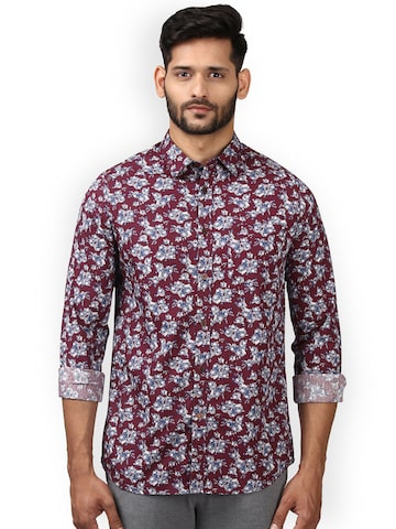 ColorPlus Men Maroon Regular Fit Solid Casual Shirt ColorPlus Shirts at myntra
