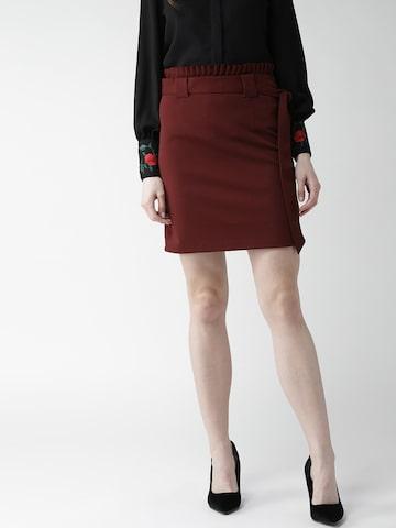 20Dresses Burgundy Pencil Mini Skirt 20Dresses Skirts at myntra