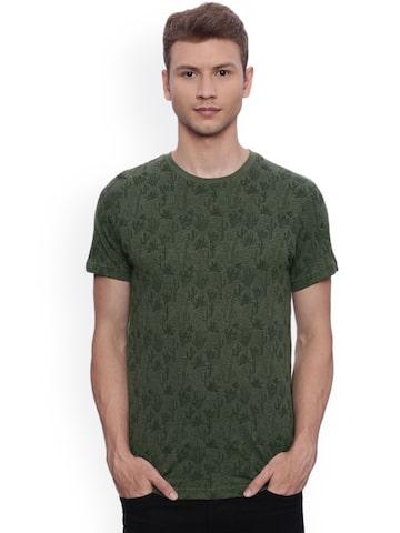 Indian Terrain Men Green Printed Round Neck T-shirt Indian Terrain Tshirts at myntra
