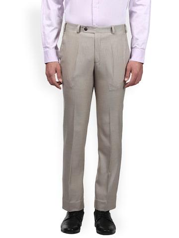 Park Avenue Men Beige Slim Fit Solid Formal Trousers Park Avenue Trousers at myntra