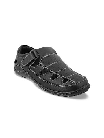 Metro Men Black Leather Clogs Metro Sandals at myntra