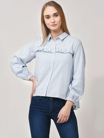 STREET 9 Women White & Blue Modern Fit Striped Casual Shirt STREET 9 Shirts at myntra