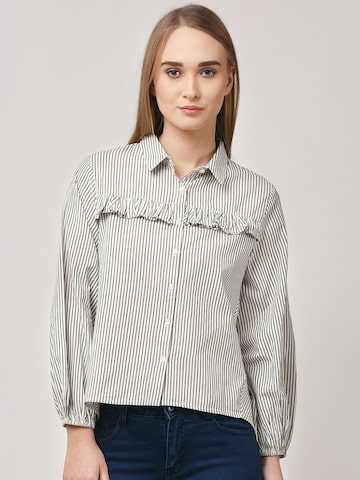 STREET 9 Women Off-White & Olive Green Modern Fit Striped Casual Shirt STREET 9 Shirts at myntra