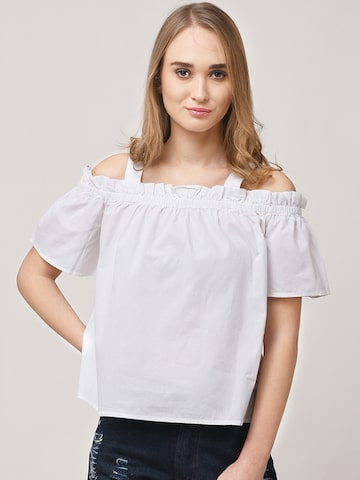 STREET 9 Women White Solid Bardot Top STREET 9 Tops at myntra