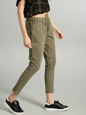 Roadster Women Olive Green Cropped Regular Trousers Roadster Trousers at myntra