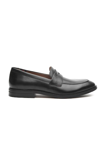 Clarks Men Black Leather Formal Penny Loafers Clarks Formal Shoes at myntra