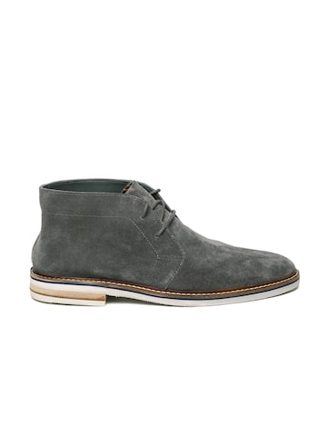 Clarks Men Grey Solid Suede Mid-Top Flat Boots Clarks Casual Shoes at myntra