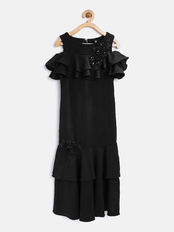 Tiny Girl Black Solid Layered Maxi Dress Tiny Girl Dresses at myntra
