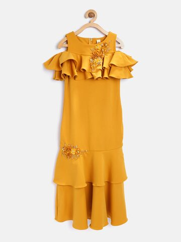 Tiny Girl Mustard Yellow Solid Layered Maxi Dress Tiny Girl Dresses at myntra