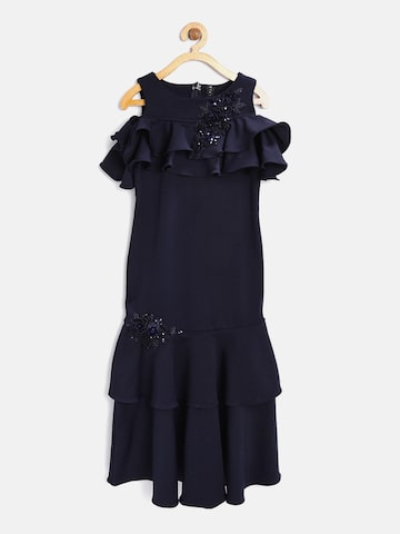 Tiny Girl Navy Blue Solid Layered Maxi Dress Tiny Girl Dresses at myntra