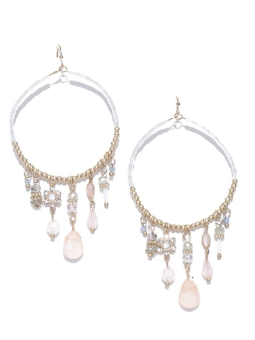 Accessorize Gold-Toned & Peach-Coloured Oval Hoop Earrings Accessorize Earrings at myntra