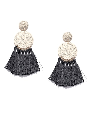 Accessorize Black & Gold-Toned Circular Drop Earrings Accessorize Earrings at myntra