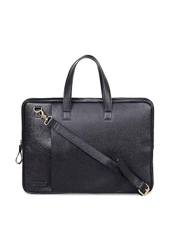 Justanned Men Black Solid Leather Laptop Bag Justanned Laptop Bag at myntra