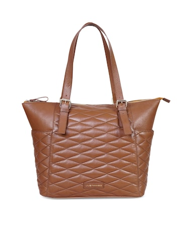 Justanned Brown Solid Leather Tote Bag Justanned Handbags at myntra