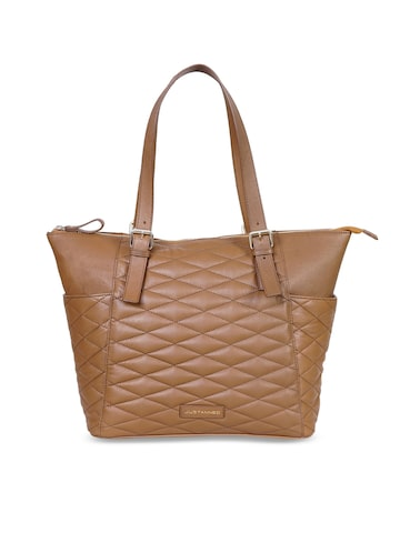 Justanned Tan Solid Leather Tote Bag Justanned Handbags at myntra