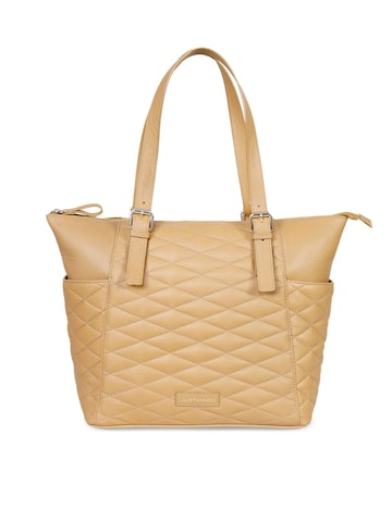 Justanned Beige Solid Leather Tote Bag Justanned Handbags at myntra