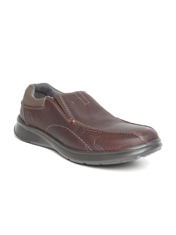 Clarks Men Burgundy Leather Slip-Ons Clarks Casual Shoes at myntra