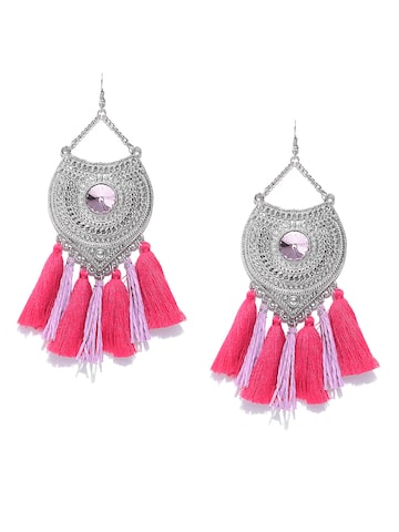 Blueberry Silver-Toned & Pink Tasselled Textured Drop Earrings Blueberry Earrings at myntra