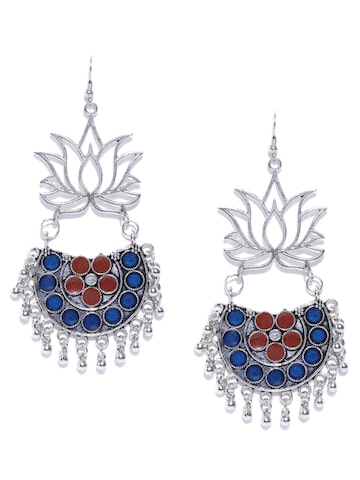 Blueberry Oxidised Silver-Toned & Blue Enamelled Drop Earrings Blueberry Earrings at myntra