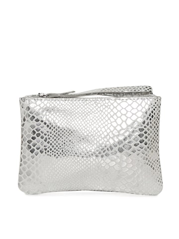 Accessorize Silver-Toned Textured Purse Accessorize Clutches at myntra