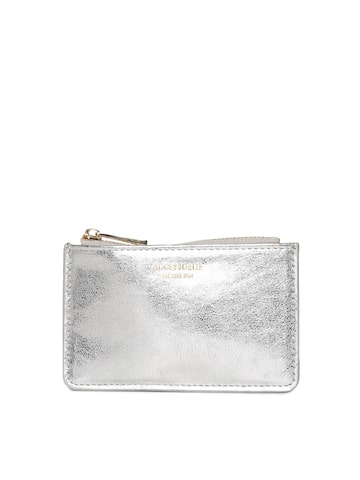 Accessorize Women Silver-Toned Solid Zip Around Wallet Accessorize Wallets at myntra
