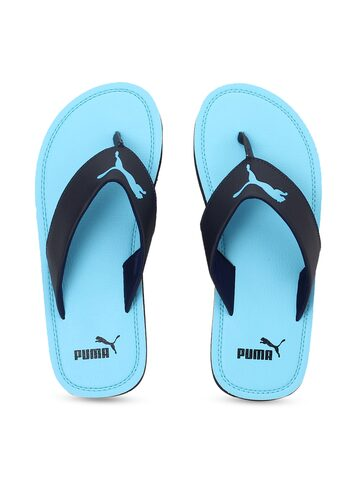 Puma Unisex Blue & Black Solid Thong Flip-Flops Puma Flip Flops at myntra