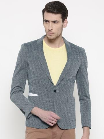 The Indian Garage Co Men Grey & White Self-Design Slim Fit Casual Blazer The Indian Garage Co Blazers at myntra