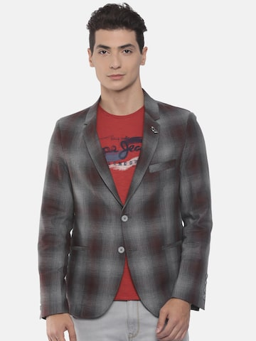 The Indian Garage Co Navy Maroon & Grey Single-Breasted Slim Fit Casual Blazer The Indian Garage Co Blazers at myntra