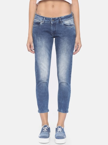 Pepe Jeans Women Blue Lola Regular Fit Mid-Rise Low Distress Stretchable Jeans Pepe Jeans Jeans at myntra