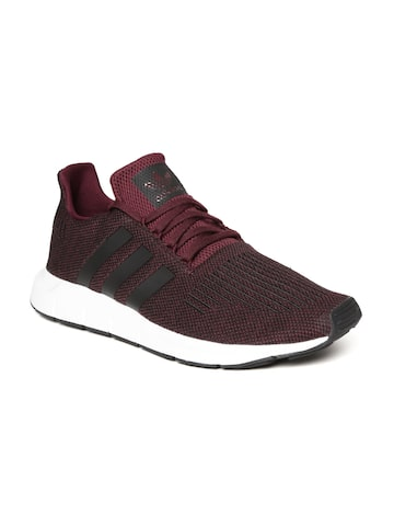 Adidas Originals Men Burgundy & Black Swift Run Sneakers Adidas Originals Casual Shoes at myntra