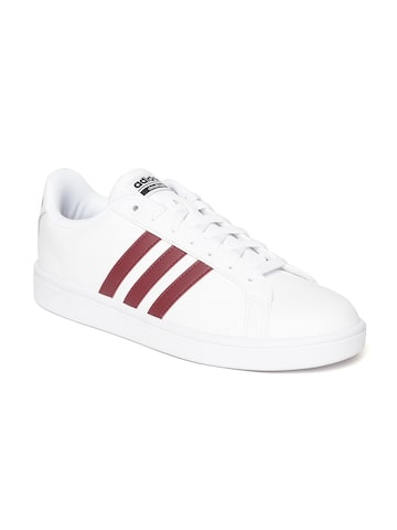 Adidas Men White CF Advantage Leather Tennis Shoes Adidas Sports Shoes at myntra