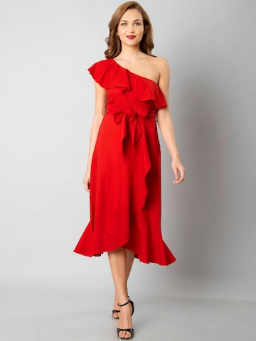 FabAlley Women Red Solid Fit and Flare One Shoulder Dress FabAlley Dresses at myntra